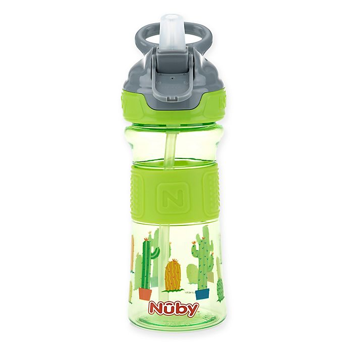 Alternate image 1 for Nuby™ 12 oz. Push-Button Flip-It Toddler Spout Cup in Green