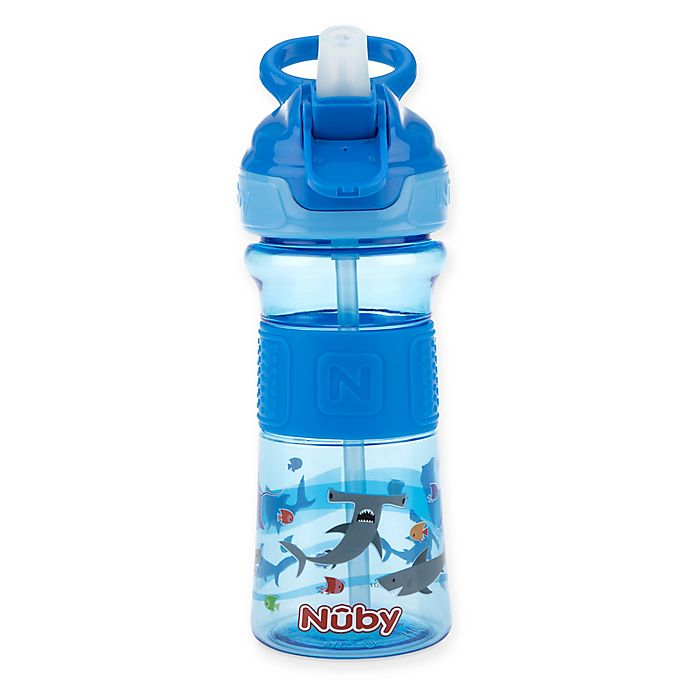 Alternate image 1 for Nuby™ 12 oz. Push-Button Flip-It Toddler Spout Cup in Blue