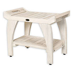 Coastal Vogue Tranquility Teak Bench with Shelf and LiftAide Arms in Off White