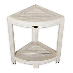 Coastal Vogue Oasis 2-Tier Teak Corner Bench in Off White