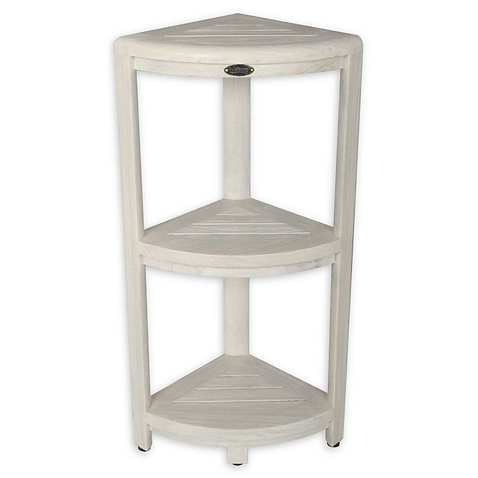 Alternate image 1 for Coastal Vogue Oasis Teak 3-Tier Corner Shelf in Off White