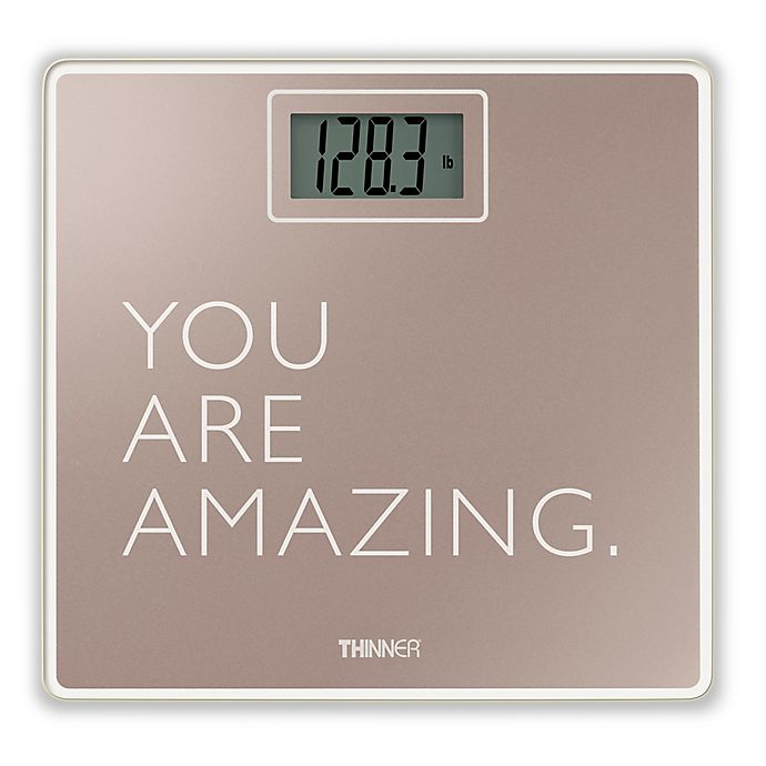 Alternate image 1 for Thinner® by Conair™ Digital Glass Bathroom Scale in Rose Gold