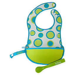 b. box® Retro Circles Travel Bib & Spoon Set