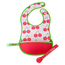 b. box® Cherry Delight Travel Bib & Spoon Set