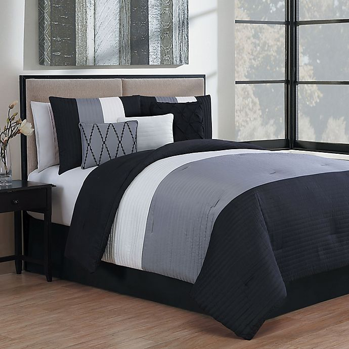 Alternate image 1 for Avondale Manor Manchester 7-Piece King Comforter Set in Black/Grey