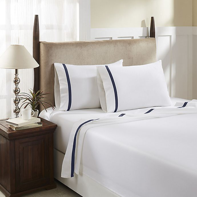 Alternate image 1 for Hotel Luxury Concepts 500-Thread-Count Queen Sheet Set in White/Denim Blue