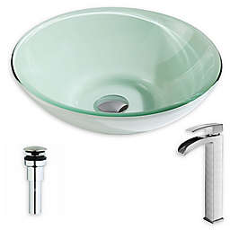 ANZZI Sonata 16-Inch Glass Vessel Sink with Faucet Collection