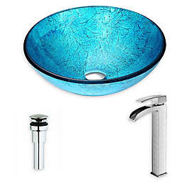 ANZZI™ Accent 16.5-Inch Glass Vessel Sink with Key Faucet in Emerald Ice