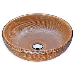 ANZZI Earthen Series LS-AZ183 15.7-Inch Glass Vessel Sink in Beige