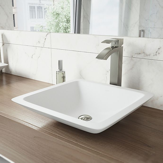 Alternate image 1 for Vigo VGT1200 Square Matte Stone Vessel Sink and Duris Faucet Set in White