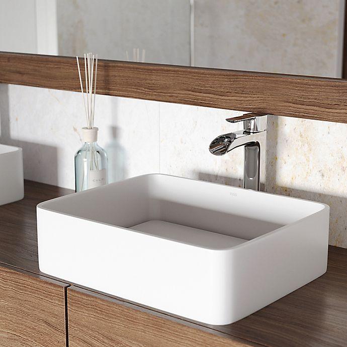 Alternate image 1 for VIGO VGT1262 Jasmine Matte Stone Vessel Sink with Niko Faucet in Chrome