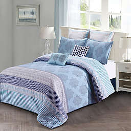 Style Quarters Lilou Queen Comforter Set in Blue/Grey
