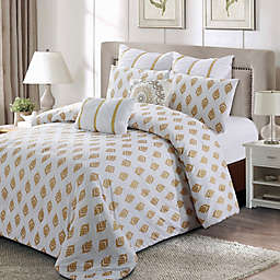 Style Quarters Gold Leaf Queen Comforter Set in Gold