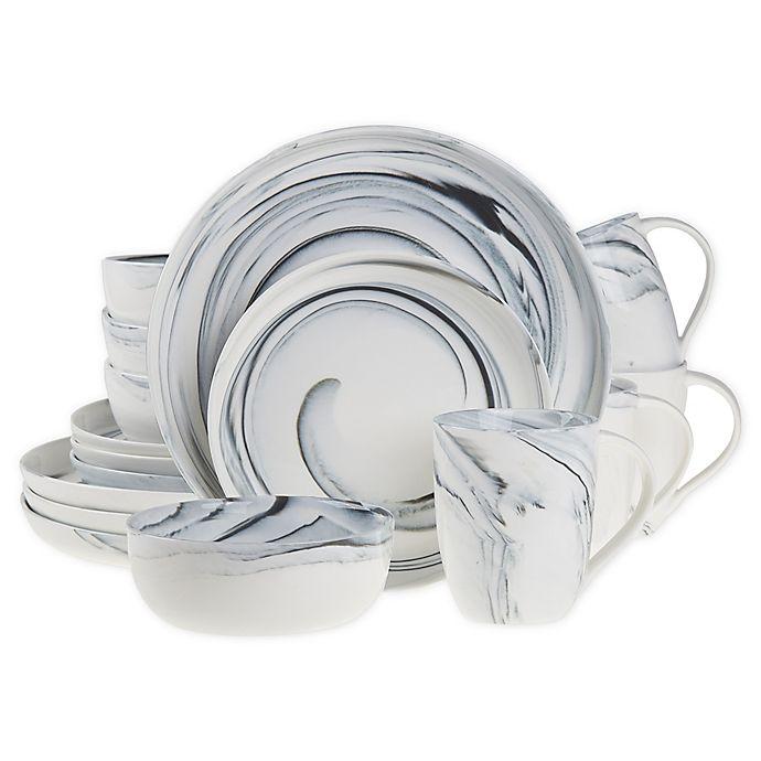 Alternate image 1 for Artisanal Kitchen Supply® 16-Piece Marbleized Dinnerware Set in Black/White