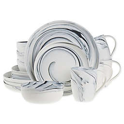 Artisanal Kitchen Supply® 16-Piece Marbleized Dinnerware Set in Black/White
