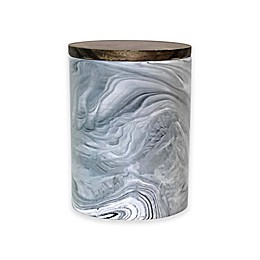 Artisanal Kitchen Supply® Coupe Marbleized 50 oz. Canister with Wood Lid in Black/White
