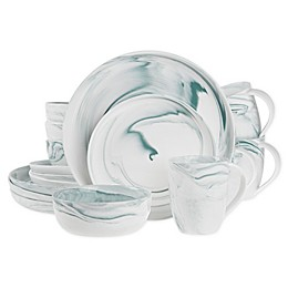 Artisanal Kitchen Supply® Coupe Marbleized 16-Piece Dinnerware Set in Teal