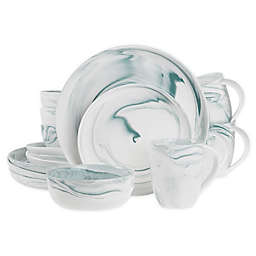 Artisanal Kitchen Supply® 16-Piece Marbleized Dinnerware Set in Teal/White