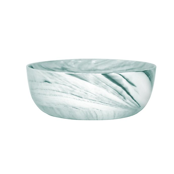 Alternate image 1 for Artisanal Kitchen Supply® Marbleized Cereal Bowls in Teal/White (Set of 4)