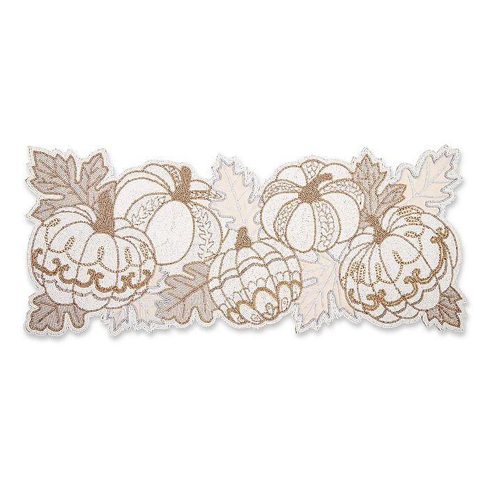 Beaded Pumpkin 36 Inch Table Runner In Natural Bed Bath