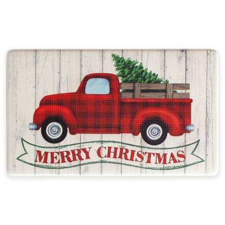 Vintage Red Truck Christmas Placemats.Holiday Truck Banner 18 X 30 Kitchen Rug