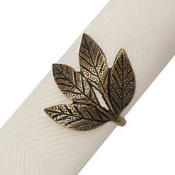 Rustic Leaves Napkin Ring in Gold