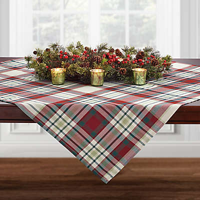 Plaid Block Table Topper Throw