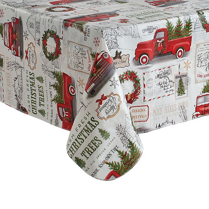 Alternate image 1 for Holiday Truck Vinyl Tablecloth