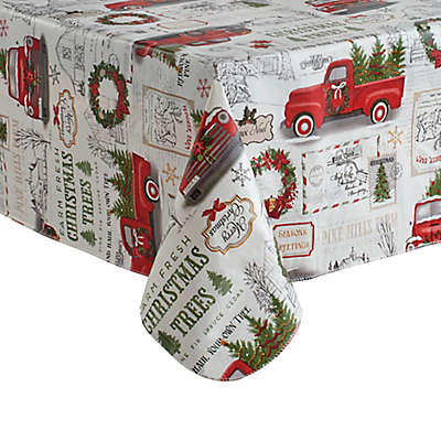 Holiday Truck Vinyl Tablecloth