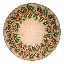 Beaded Holly Leaf Jute Placemat