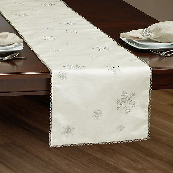Alternate image 1 for Falling Snow 72-Inch Table Runner in Silver