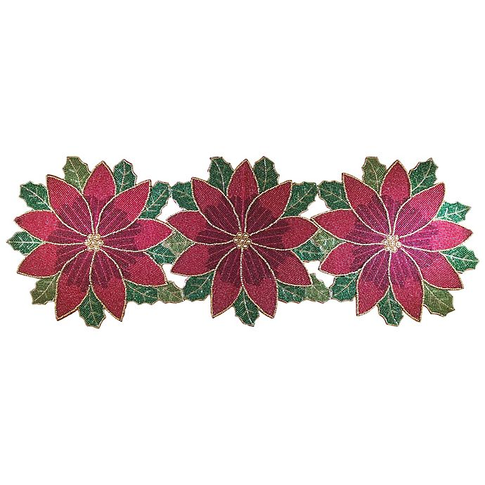 Beaded Poinsettia 36 Inch Table Runner Bed Bath Amp Beyond