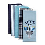 """""""Let's Get Lit"""" 5-Pack Kitchen Towels in Blue"""