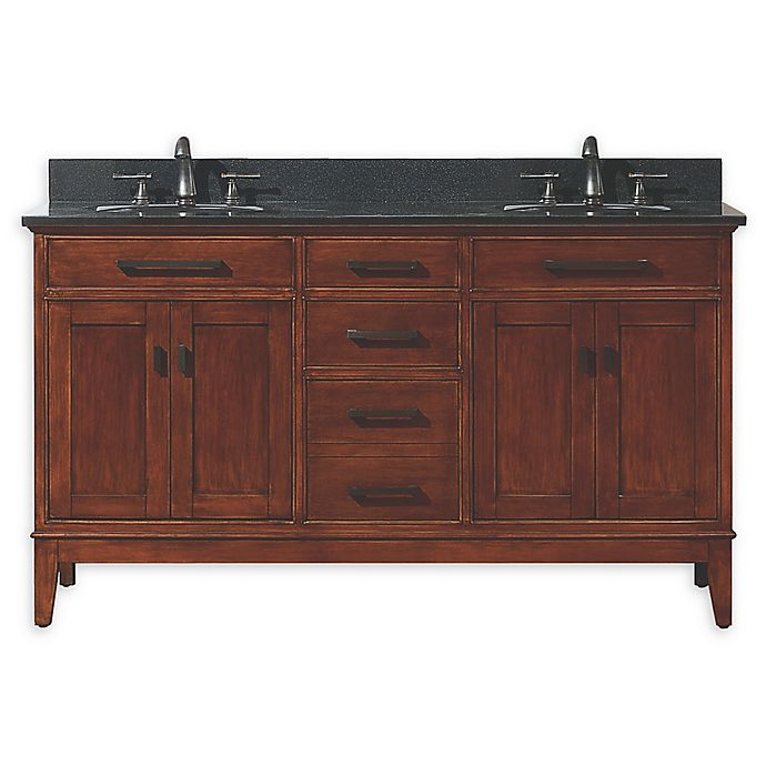 Alternate image 1 for Avanity Madison 61-Inch Double Vanity Combo with Black Granite Top and Mirror in Tobacco