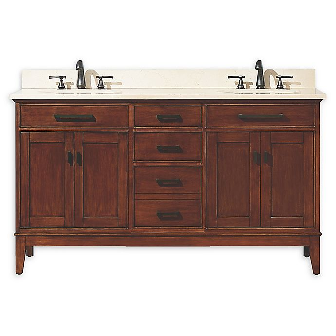 Alternate image 1 for Avanity Madison 61-Inch Double Vanity Combo with Beige Marble Top and Mirror in Tobacco
