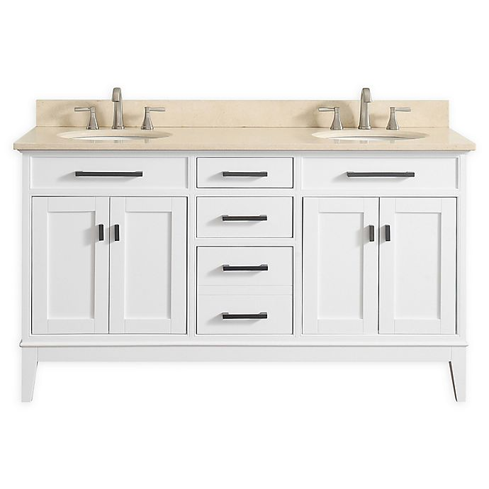 Alternate image 1 for Avanity Madison 61-Inch Double Vanity Combo with Beige Marble Top and Mirror in White