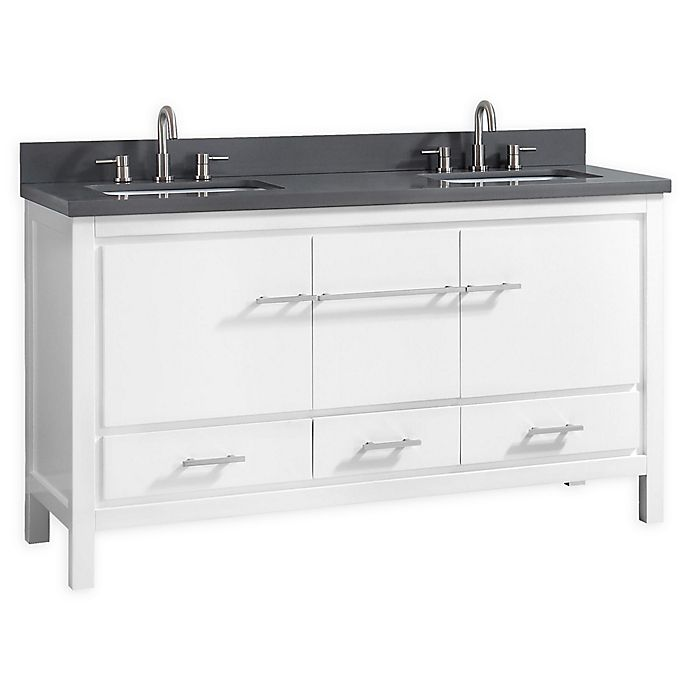 Alternate image 1 for Azzuri Riley 61-Inch Vanity Combo with Mirror in White