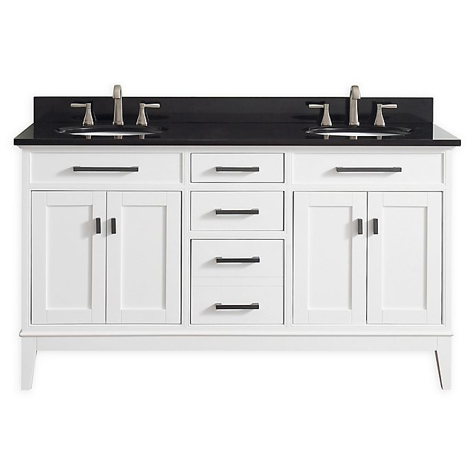Alternate image 1 for Avanity Madison 61-Inch Double Vanity Combo with Black Granite Top and Mirror in White