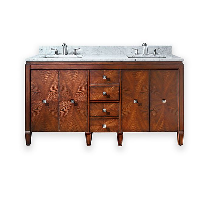Alternate image 1 for Avanity Brentwood 61-Inch Double Vanity Combo with White Marble Top and Mirror in Walnut