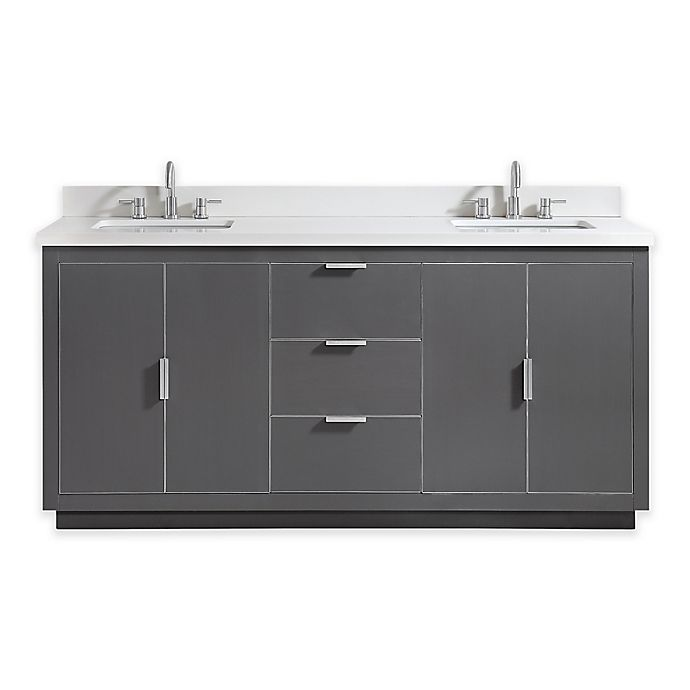 Alternate image 1 for Avanity Austen 73-Inch Double Vanity with White Quartz Top and Mirrors in Grey with Silver Trim