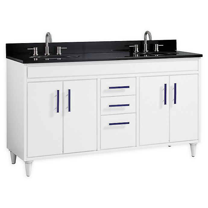 Alternate image 1 for Avanity Layla 61-Inch Double Vanity Combo with Black Granite Top and Mirror in White