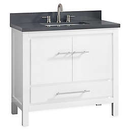 Azzuri Riley 37-Inch Grey Quartz Top Vanity with Mirror in White