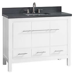 Azzuri Riley 43-Inch Grey Quartz Top Vanity with Mirror in White