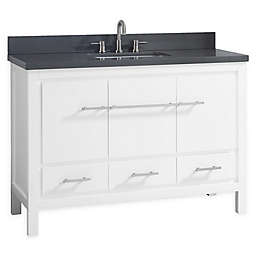 Azzuri Riley 49-Inch Grey Quartz Top Vanity with Mirror in White
