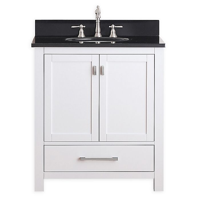 Alternate image 1 for Avanity Modero 31-Inch Single Vanity Combo with Black Granite Top and Mirror in White