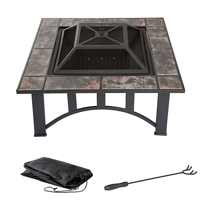 Alternate image 1 for Pure Garden Wood Burning 33-Inch Square Marble Tile Fire Pit in Black Orange