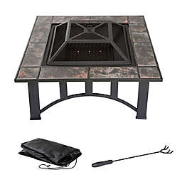 Pure Garden Wood Burning 33-Inch Square Marble Tile Fire Pit in Black Orange