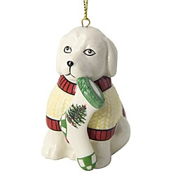 Spode® Christmas Tree Puppy with Stocking Ornament