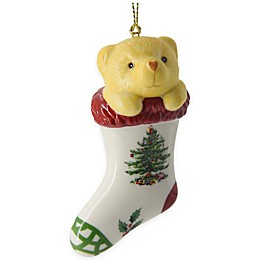 Spode® Christmas Tree Teddy Bear in Stocking Ornament