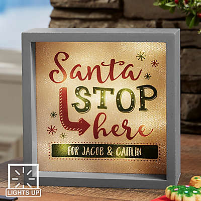 Santa Stop Here LED Light Shadow Box